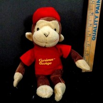 Curious George Monkey In Red T Shirt Hat Plush Stuffed Animal Toy Doll - $6.92