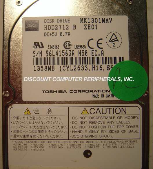 "1.3GB 2.5"" 12MM IDE Drive MK1301MAV Toshiba - HDD2712 Tested Good Free USA Ship"