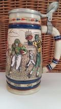 Avon 1983 Football Players Uniforms Vintage Lidded Beer Stein Ceramarte ... - $11.30