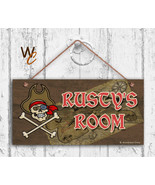 Pirate Sign, Personalized Kid's Name Door Sign, 5x10 Sign, Treasure Map ... - $16.29