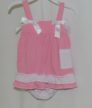 I Love Baby Pink White Sun Dress Ruffle Bloomers Size 90cm 2 to 3 Year Old image 1