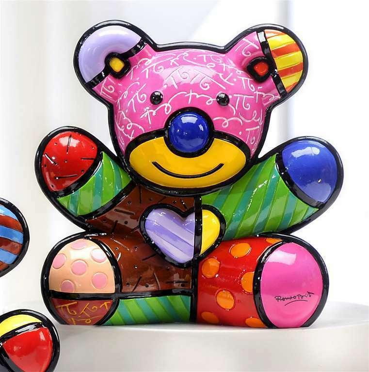 Romero Britto Fun Bear Design Figurine Rare Collectible