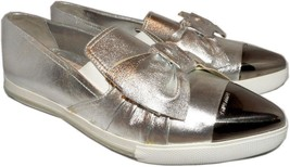 Miu Miu- Prada Silver Leather Bow Skate Sneakers 40 Shoes Pointy Toe Esp... - $367.00