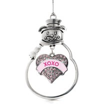 Inspired Silver XOXO Candy Pink Pave Heart Snowman Holiday Ornament - $14.69