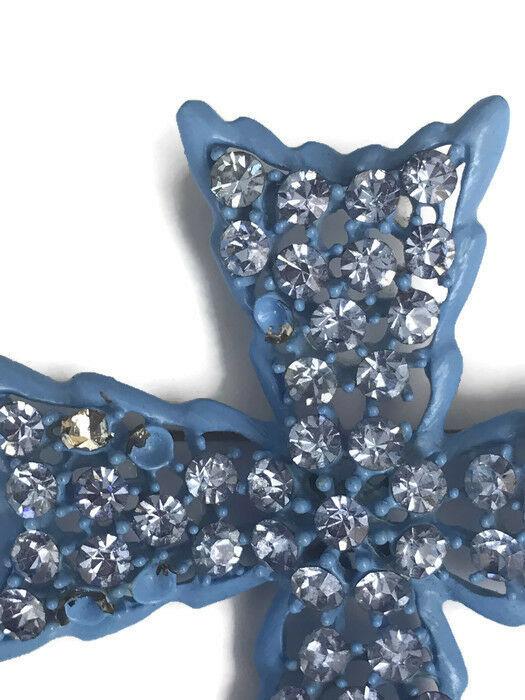 Vintage 1960s Weiss Blue Maltese Cross Brooch Pin Clip On Earrings Costume As Is