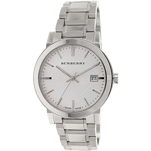Burberry Mens Large Check Silver Dial Stainless Steel Quartz Watch BU9000