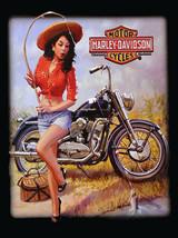 Vintage Harley Davidson pinup girl fishing reproduction steel sign biker decor - $19.79
