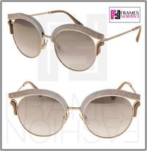 JIMMY CHOO LASH Gold Bronze Beige Snake Leather Glitter Metal Mirror Sunglasses - $287.10