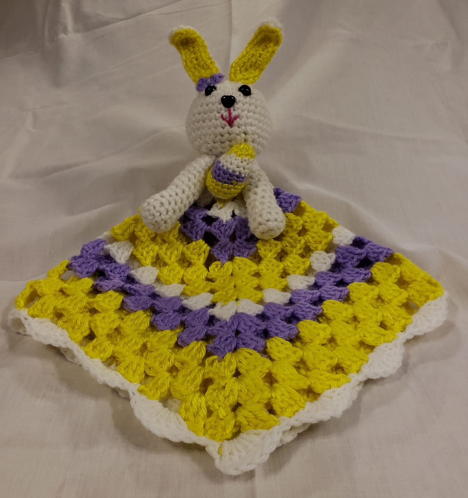 Handmade Crochet Bunny Lovey Blanket  (Purple/Yellow)