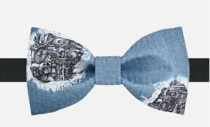 MECHANICAL DESIGN BLUE BOW TIE Free Style Nice Gift Good for Causal Party Use