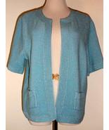 Anne Klein Aqua Blue Knit Open Front Cotton Blend Cardigan Shrug Sweater... - $23.09
