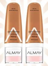 2 Almay Best Blend Forever Makeup Moisturizer Tan Shades 190 Caramel SPF 40 - $9.76
