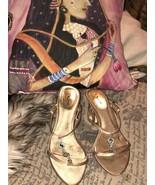 NINA Cute Champagne Rhinestone Strappy Sandals- Kitten Pumps Size 7 M - $16.83
