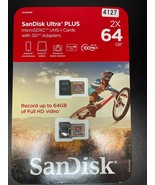 2X SANDISK 64GB ULTRA PLUS MICROSDXC UHS-I CARDS WITH SD ADAPTERS  - $29.03