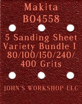 Makita BO4558 - 80/100/150/240/400 Grits - 5 Sandpaper Variety Bundle I - $7.53