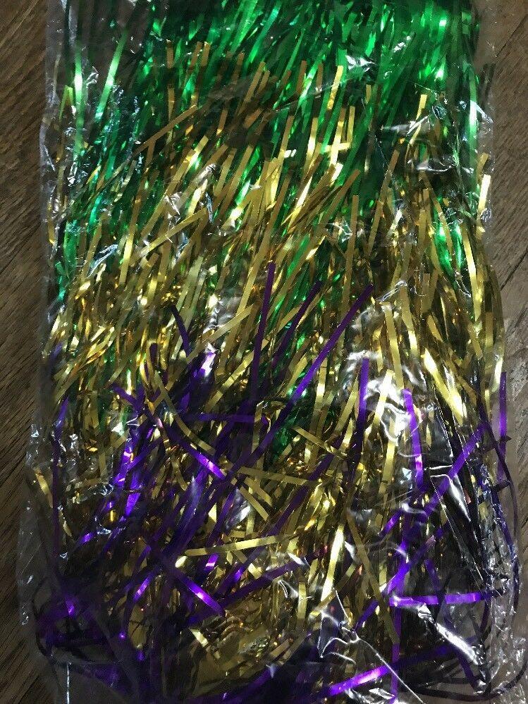 Purple Gold & Green Metallic Mylar Mardi Gras WIG carnival clown doll costume image 3