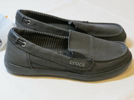Womens crocs standard fit Walu canvas loafer slide shoe W 4 W4 boat black - $32.07
