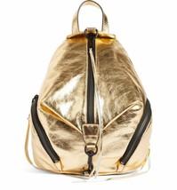NWT REBECCA MINKOFF Medium Julian Leather Backpack Bag Metallic GOLD $26... - $149.90