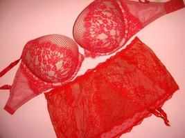 Victoria's Secret 32DDD push up BRA SET M garter skirt RED crystallized FLORAL - $69.29