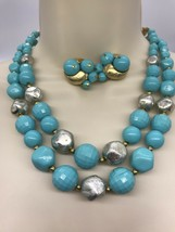 Turquoise Color Necklace & Earrings Silvertone Goldtone Beaded Double St... - $12.11