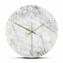 White Marble Pattern Print Wall Clock Quiet Chic Round Modern Fashion De... - $43.97