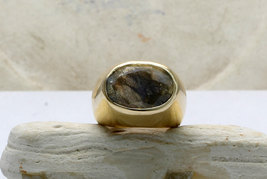 Labradorite ring,thick gold ring,solid gold ring,14k yellow gold ring - $99.00+