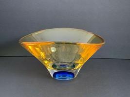 Kosta Boda Goran Warff Signed Amber and Cobalt Blue Art Glass Bowl 50206 - $222.75