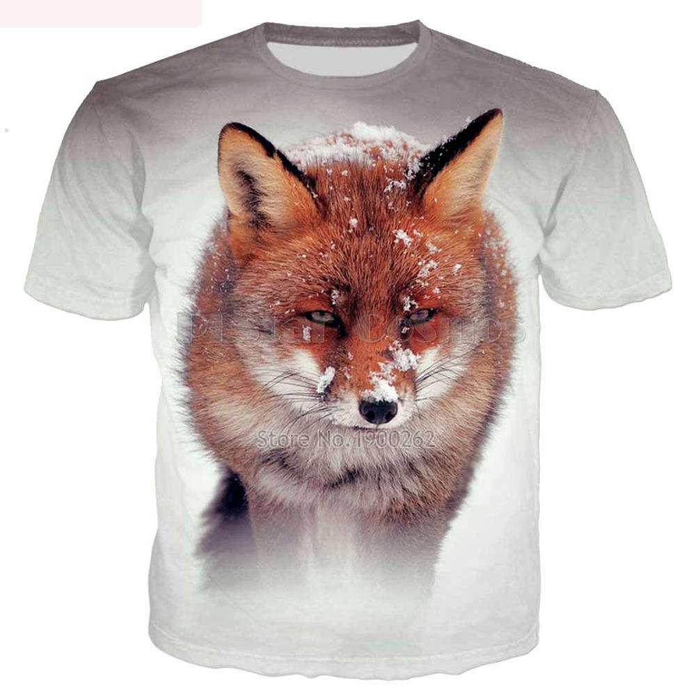 Plstar cosmos the fox in the snow print 3d tee tops men women animal t shirts 14