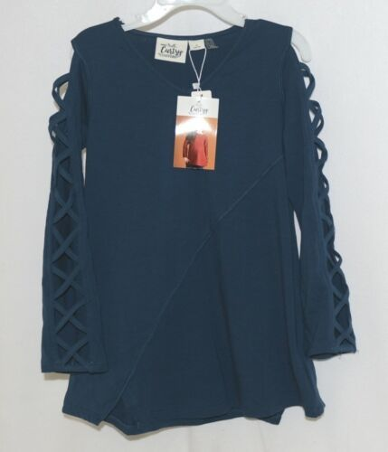 Simply Noelle Curtsy Couture Girls Cutout Long Sleeve Shirt Misty Blue Small