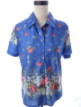 Haband Blue Purple Floral Print Button Down Shi... - $25.34