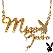Playboy Necklace MISS JUNE Bunny Logo Pendant Gold Plated Playmate of th... - $14.69