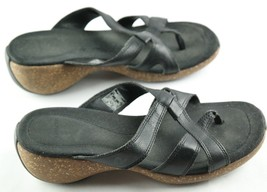 Merrell Sundial Cross Strap Sandals Womens Size 7 Black Leather Thong Shoes - $25.20
