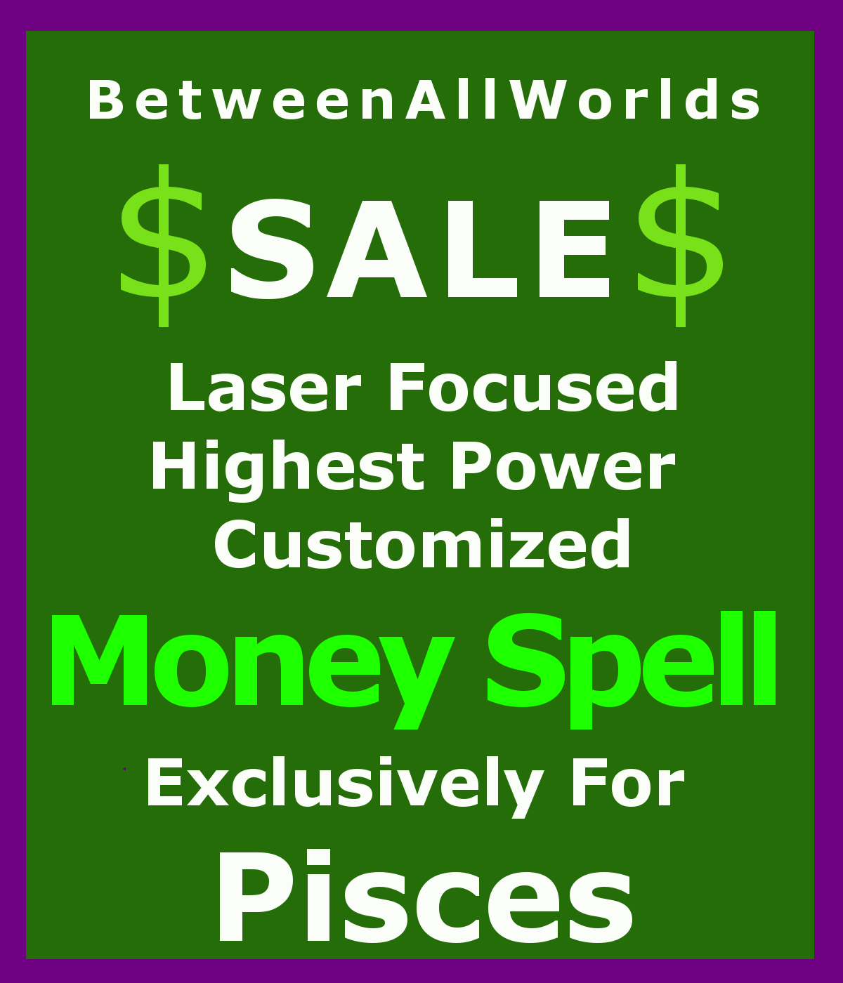 Primary image for kvm Sale Wealth Spell Billionaire Customized Magick 4 Pisces Betweenallworlds