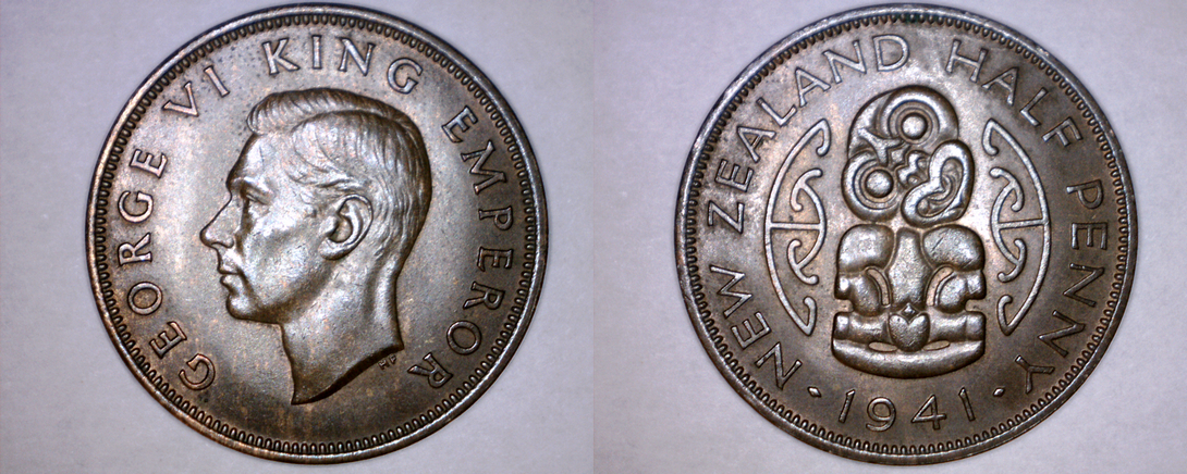 1941 New Zealand Half 1/2 Penny World Coin - $24.99
