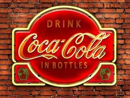 Metal Sign Image of Drink Coca-Cola in Bottles Neon on Brick Wall - $29.95