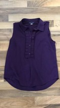 TOMMY HILFIGER Small Solid Blouse Purple Sleeveless Popover Pleated Front Top - $27.90