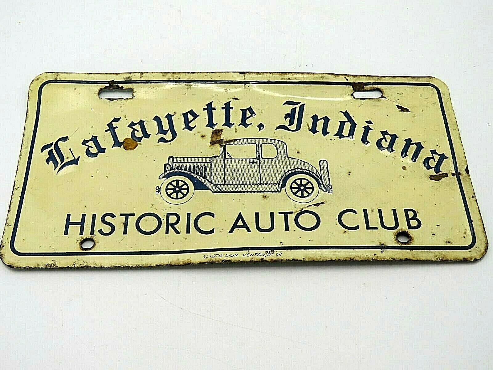 Vintage Historic Auto Club Lafayette Indiana Metal License Plate
