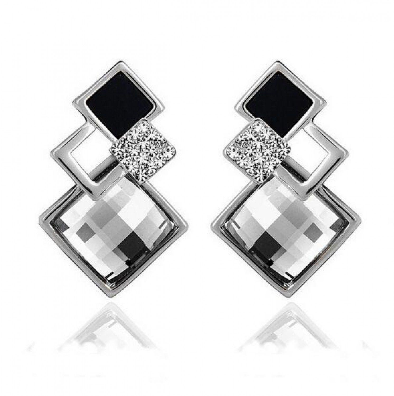 New Popular Crystal Earrings Fashion Geometric Rhinestone Gemstone Studs 2018 image 8