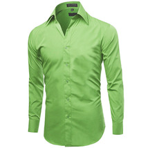 Omega Italy Men's Premium Slim Fit Button Up Long Sleeve Solid Color Dress Shirt image 3