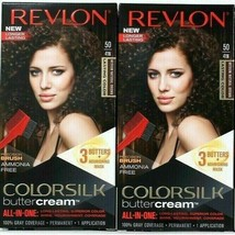 (2) Revlon 50 / 41N Medium Natural Brown Vivid Hair Color Colorsilk Butt... - $21.77