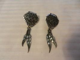 Women's Silver Metal Southwestern Pots with 2 Feathers Pierced Earrings - $29.70