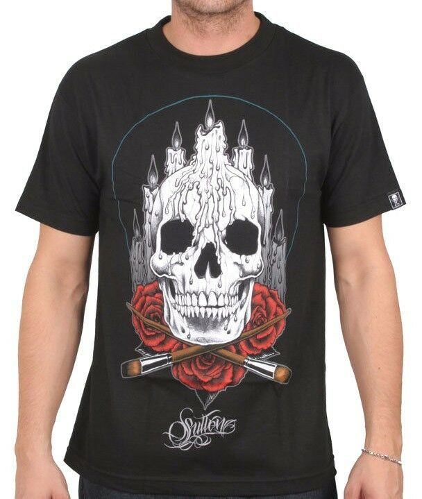 Sullen Art Collective Mens Black Altar Skull Roses Inked Tattoo Goth T-Shirt NW