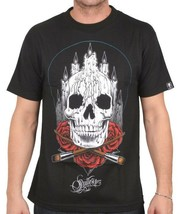 Sullen Art Collective Mens Black Altar Skull Roses Inked Tattoo Goth T-Shirt NW image 1
