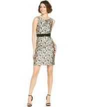 TAHARI ASL ~Size 14~ Metallic Floral Print Sequin Panel Sheath Dress Ret... - $65.99