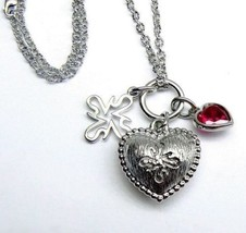 "VERA WANG Triple Pendant Ruby Heart Sterling SILVER 12.65 gr Necklace 20""  - $123.28"