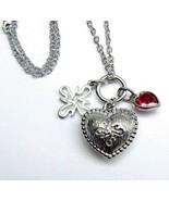 "VERA WANG Triple Pendant Ruby Heart Sterling SILVER 12.65 gr Necklace 20""  - $123.28"