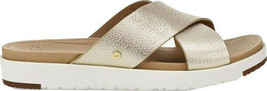 UGG Kari Metallic Slide Women Gold White Metallic Leather Straps Sandals... - $149.99