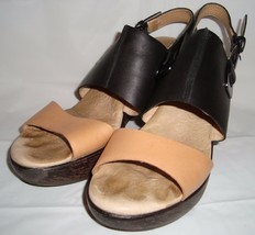 Jambu Gem Black Tan Wedge Sandals 9.5 Strappy Heels - $49.95