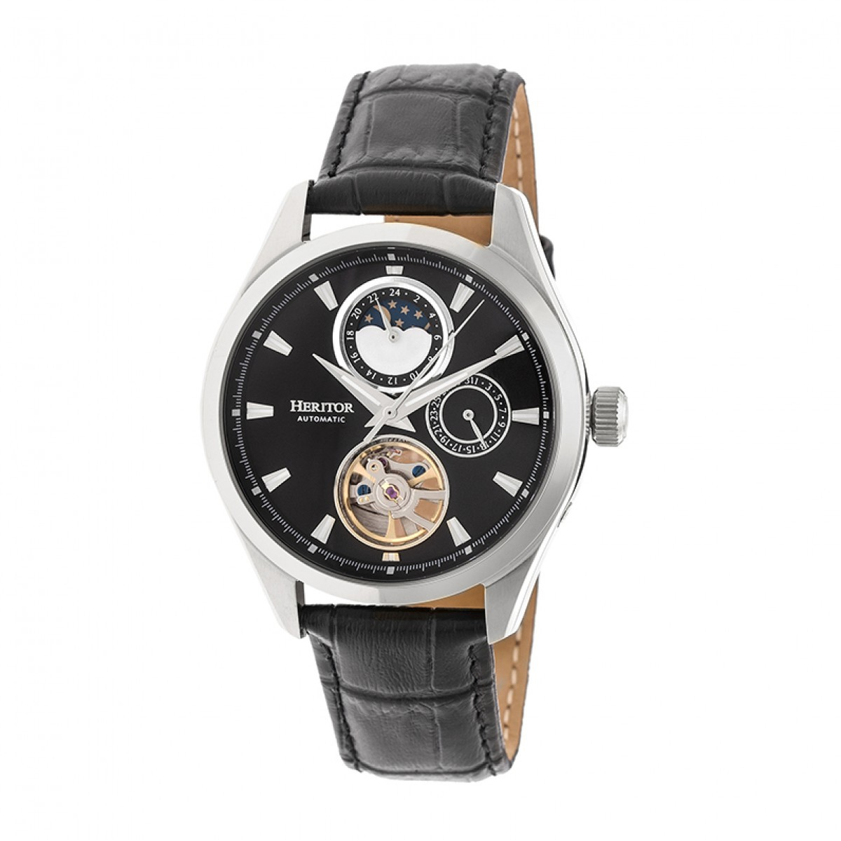 Primary image for Heritor Automatic Sebastian Semi-Skeleton Leather-Band Watch  - Silver/Black