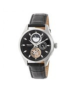 Heritor Automatic Sebastian Semi-Skeleton Leather-Band Watch  - Silver/B... - £575.03 GBP